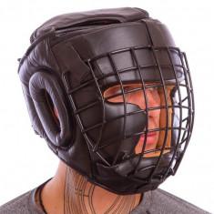 Шлем с металлической маской кожаный