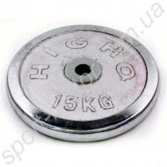 Блин хромированный 15 кг, отверстие 30 мм