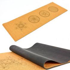 Коврик для йоги каучуковый пробковый Мандала