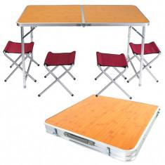 Стол для пикника плюс 4 стула (алюминий, бамбук)