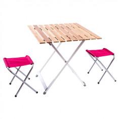 Стол для пикника плюс 2 стула (алюминий, бамбук)