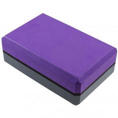 Йога-блок двухцветный серый/фиолетовый Акция !